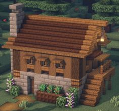 Casa Medieval Minecraft, Minecraft House Plans, Minecraft Farm, Minecraft Mansion, Minecraft Cottage, Easy Minecraft Houses, Minecraft House Tutorials, Minecraft Castle, Minecraft House Designs
