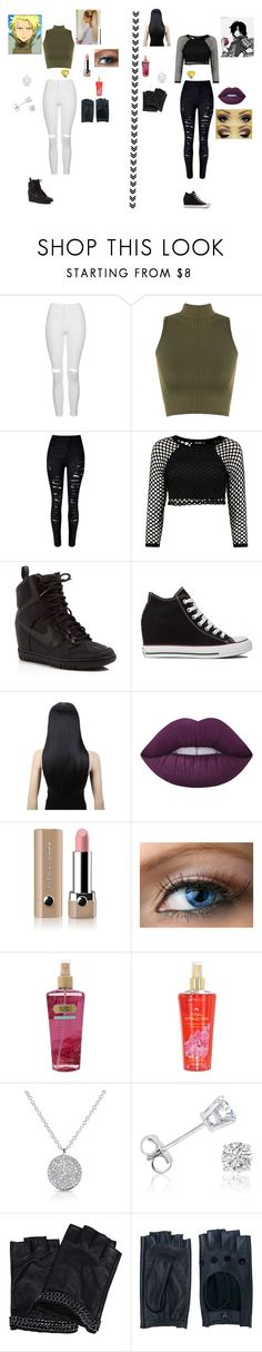 """""""sting and rogue's little sisters (16)"""" by erza-2001-scarlet ❤ liked on Polyvore featuring Topshop, WearAll, NIKE, Converse, Lime Crime, Marc Jacobs, Victoria's Secret, Anne Sisteron, Amanda Rose Collection and Karl Lagerfeld"""