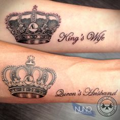 - King and Queen Crown Tattoos Uncategorized 40 King & Queen Tattoos That Will Instantly Make Your Relationship . King Queen Tattoo, King Tattoos, Bff Tattoos, Family Tattoos, Friend Tattoos, Forearm Tattoos, Love Tattoos, Crown Tattoos, Boyfriend Name Tattoos