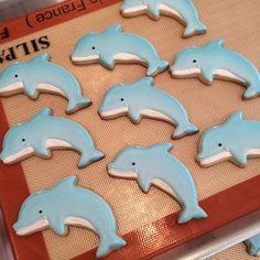 Lovely dolphin cookies. #dolphincookies #dolphins #cookies #cookiefun #heresmyfood #instacookies #sugarcookies #sealife #customorder #handmade