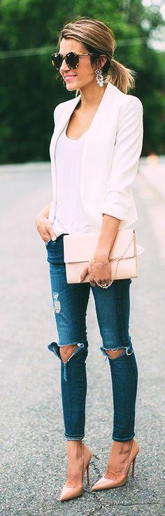#streetstyle #casualoutfits #spring  White Blazer + White Tee + Ripped Denim  Hello Fashion
