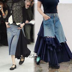 JUNYA WATANABE COMME DES GARCONS FW2004 Heavy Denim/Wool Ruffled Maxi Skirt Sz M #JunyaWatanabe #Tiered