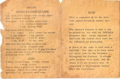"Printed recipe for Queen Elizabeth Cake. Grandma loved to save recipes from her friends, newspapers or magazines. Sometimes she would get ruthless and decide to have a ""clean out"" but no they still sound delicious! Retro Recipes, Old Recipes, Vintage Recipes, Cookbook Recipes, Baking Recipes, Cake Recipes, Dessert Recipes, Recipies, Family Recipes"
