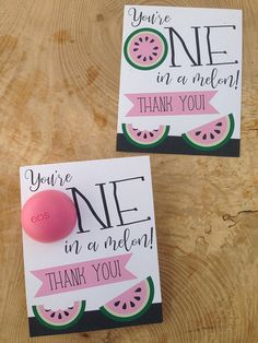 You're one in a melon! Printable thank you cards for EOS lip balm, for purchase Employee Appreciation Gifts, Volunteer Appreciation, Volunteer Gifts, Eos Lip Balm, Diy Food Gifts, Homemade Gifts, Printable Thank You Cards, One In A Melon, School Gifts