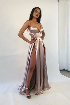Sexy Long A Line Nude Prom Evening Dress With Slits Spaghetti Straps Backless Winter Prom Dresses, Nude Prom Dresses, A Line Prom Dresses, Tulle Prom Dress, Prom Dresses Online, Slit Dress, Evening Dresses, Party Dresses, Orange Blush