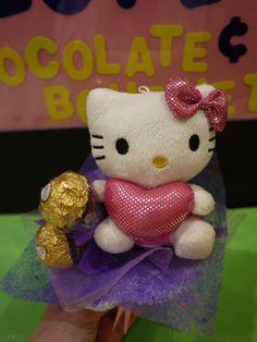 Hello Kitty plush flower bouquet with Ferrero Rocher chocolate. Sweet Valentine's day gift