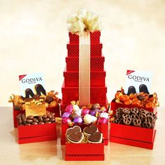 Godiva For Any Occasion Gift Tower: Scale sweet heights with this gorgeous red tower filled with treats. They will love the signature Godiva treats. It's a tower of great tastes! Valentine Gifts, Holiday Gifts, Christmas Gifts, Christmas Ideas, Chocolate Dipped Pretzels, Chocolate Covered, Chocolate Truffles, Romantic Gifts For Girlfriend, Red Gift Box