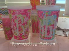 Set of 4 Personalized Lilly Pulitzer Tumblers by preppypapergirl, via Etsy.