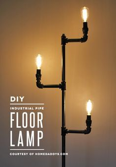 Live out your vaguely steampunk decor fantasies with this awesome industrial pipe floor lamp tutorial!