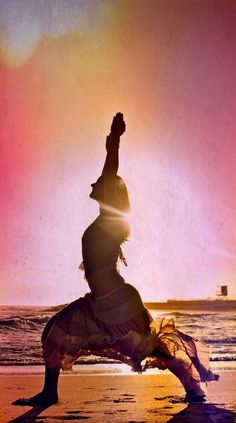 Sunset beach yoga ~ Warrior pose