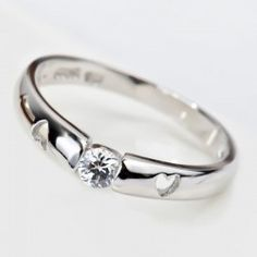 925 Sterling Silver Hollow Heart Ring With White CZ Inlaid