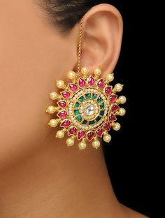 Jewelry Design Earrings, Gold Earrings Designs, Gold Jewellery Design, Ear Jewelry, Necklace Designs, Beaded Jewelry, Jewelry Necklaces, Gold Earrings For Women, Gold Stud Earrings