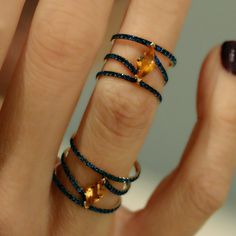 """Linee Misteriose"" Citrine Sapphire Full Finger Ring - Plukka - Shop Fine Jewelry Online"