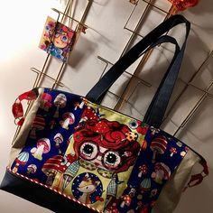 manufaktur_gartner Un sac #coutureaddict #tissusaddict #petitebiounette #champignons #handmade #jeans #lin #sacamain #sacôtin