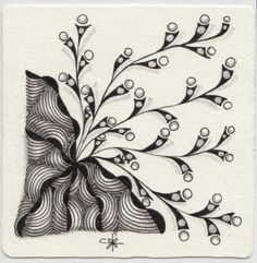 https://flic.kr/p/CavFnh | Square One: Purely Zentangle® Facebook page - Trumpits | Tangle Trumpits sprouting from Ixorus.