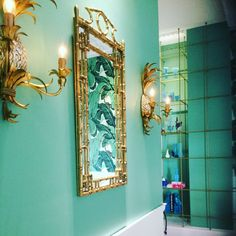 #hollywoodregency #bamboomirror #modernregency #micropigmentation #pineapplelights #farrowandball #arsenic #tattoostudio farrow and ball arsenic tattoo studio interior