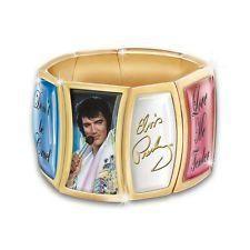 PREMIUM Elvis Presley Heartbreaker Flex 24K Gold-Plated Charm Bracelet DONT BE CRUEL LOVE ME TENDER