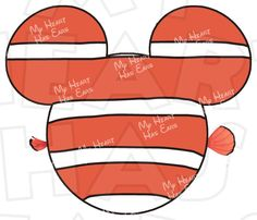 Finding Nemo Mickey Mouse Head INSTANT DOWNLOAD digital clip art Image for iron on transfer :: My Heart Has Ears
