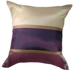 Triple Shades of Purple-18x18 Inches, Three Shades of Beige, Violet Purple, and Deep Purple Decorative Silk Pillow Cover. Exotique Imports http://www.amazon.com/dp/B00I4IXGEM/ref=cm_sw_r_pi_dp_1NLBub0DJ3PSC