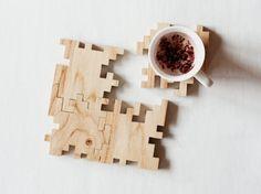 Wooden Coasters - Solid Oak Wood - Interlocking Geometric Puzzle - Modern Drinks Mats - Set of 4