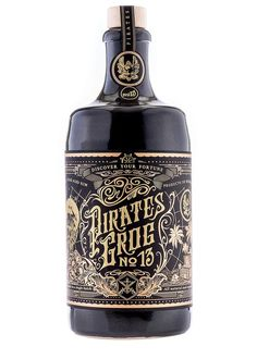 Pirate's Grog Rum Single Batch 13 Year Old Rum Alcohol Bottles, Liquor Bottles, Tequila, Aged Rum, Rum Bottle, Scotch Whiskey, Bottle Packaging, Wine And Spirits, Bottle Design