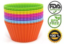 Venice Kitchen Silicone Baking Cups, 12 Reusable Non-stick Cupcake Liners, Free 50 Recipe Ebook and Storage Container *** Special discounts just for this time only  : Baking Accessories