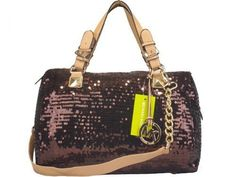 Michael Kors Grayson Glitter Satchel Chocolate