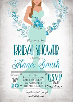 DIGITAL FILE ONLY  under the sea shower | Mermaid Bridal Shower Invitation mint green blue breath mermaid shower invite // bride wedding floral printable | 177  Invitation supplied as a print ready digital file, for you to print at home, local print shop, office supply store or photo center. You can print as many as you like. You can print on a regular print paper or on cardstock.  No physical invitations will be mailed to you, this product will be sent to the email address listed o...