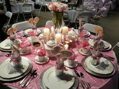 Pink and Silver Tea Table