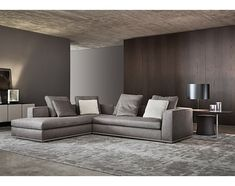 """Minotti """"Powell"""" sectional sofa for salon with dark brown leather removeable headrests"""