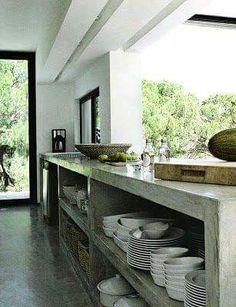 Cocinas de concreto. Amí me gustan.