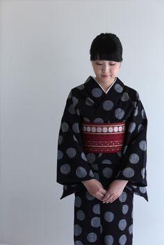 久留米絣に博多帯 Kurume-kasuri(kimono with splashed pattern) and Hakata sash