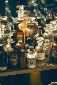 fantasy, potions, and witch image Wicca, Magick, Witchcraft, Apothecary Bottles, Vintage Bottles, Bottles And Jars, Apothecary Bathroom, Apothecary Decor, Halloween Apothecary