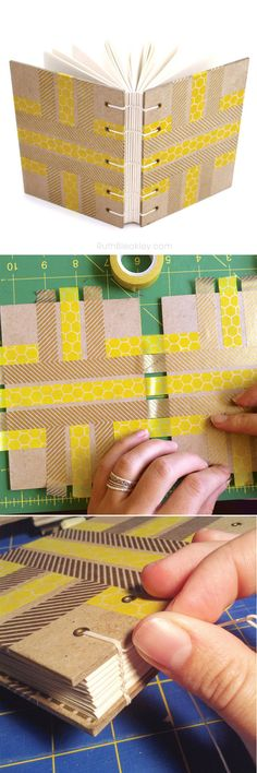 washi tape turned into a journal cover - a handmade journal is the perfect gift for a writer!