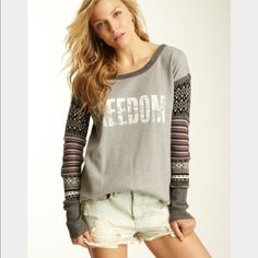 Gray Freedom Free People thermal Warm and cute!!! Free People Tops