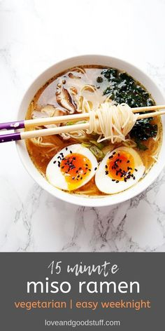 This easy vegetarian miso ramen bowl is perfect for easy weeknight dinners! All… This easy vegetarian miso ramen bowl is perfect for easy weeknight dinners! All the comforts of your favourite take out ramen made easily at home! Vegetarian Recipes Dinner, Soup Recipes, Cooking Recipes, Vegetarian Ramen, Shrimp Recipes, Vegetarian Japanese Food, Diet Recipes, Vegetarian Sweets, Vegetarian Cooking