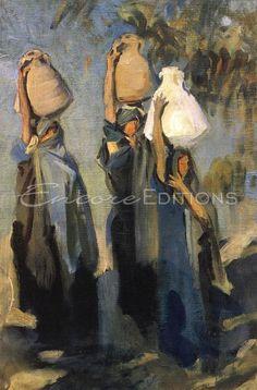 John Singer Sargent - Bedouin Women Carrying Water Jars Painting