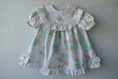 Vintage Toddler Clothes  White Dress with Pink & by NellsNiche, $20.00