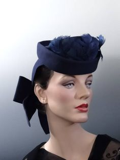 d29542ffa2f Tilt Hat Blue Felt - Vintage Women s War Era Fashions Early 1940 s WWII