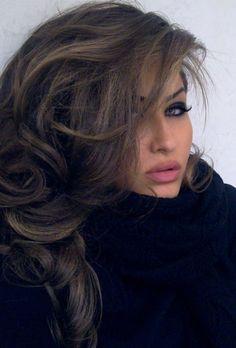 Bombshell Brunette ♥ love the color, highlights, style, volume, makeup, cowl-neck black sweater :)