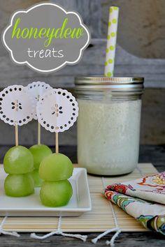 Honeydew melon treats including melon balls and a honeydew smoothie recipe