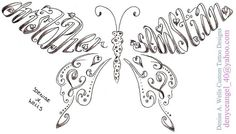 Names Christopher and Sebastian Made into a Butterfly Shaped Tattoo by Denise A. Wells by ♥Denise A. Wells♥, via Flickr