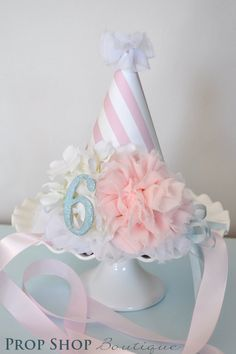 Girls Flower Ballerina Birthday Party Hat, Special Occasion. $30.00, via Etsy.