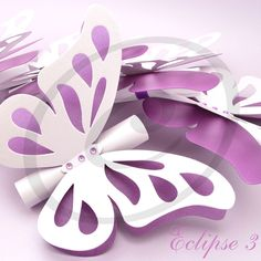 White and purple pearl cardstock combination handmade wedding butterfly scroll invitations