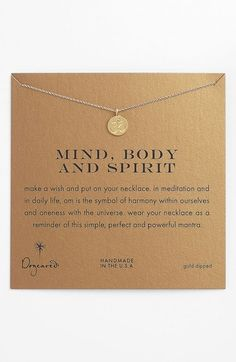 Free shipping and returns on Dogeared 'Mind, Body & Spirit' Om Pendant Necklace at Nordstrom.com. A symbol promoting harmony and peace is etched into a beautifully detailed pendant hand-cast in gold-dipped sterling silver and strung from a dainty chain necklace.