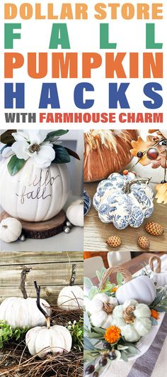 Dollar Store Fall Pumpkin Hacks with Farmhouse Charm. Fall is just around the corner and the decorating shall begin really soon! It can get a bit expensive so why now check out some Farmhouse Dollar Store Fall Pumpkin Hacks that are so budget friendly. Pumpkin Crafts, Diy Pumpkin, Fall Crafts, Diy And Crafts, Tree Crafts, Dollar Store Hacks, Dollar Store Crafts, Dollar Stores, Small Flower Arrangements