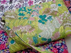 Wedding Clutch 2 pockets,medium,lime green floral,discount plan set, wristlet, cotton - wonder forest by bagonebagshop on Etsy