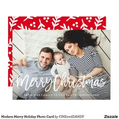 Modern Merry Holiday Photo Card @zazzle