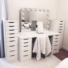 """More information about """"bedroom ideas"""" can be found on our website. It is an extraordinary . - Home - Beauty Room Bedroom Makeup Vanity, Makeup Room Decor, Vanity Room, Ikea Vanity, Makeup Vanities, Vanity Decor, Makeup Rooms, Bathroom Vanities, Cute Bedroom Ideas"""