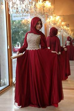 2017 New Design Hijab Evening Dress Long Sleeve Red Lace Chiffon Muslim Prom Dresses Floor-Length Arabic Evening Gowns haji *** AliExpress Affiliate's Pin. Locate the AliExpress offer simply by clicking the VISIT button Islamic Fashion, Muslim Fashion, Modest Fashion, Hijab Fashion, Fashion Wear, Hijab Evening Dress, Long Sleeve Evening Dresses, Hijab Dress, Evening Gowns